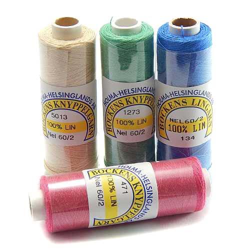 Bockens farbiges Leinengarn Nel 60/2, Handarbeitsgarn aus 100 % Leinen. Aus Flachs gesponnen. Klöppeln, Häkeln, Sticken, Weben, Modellbau und Buchbinden. In der Klöppelwerkstatt erhältlich.