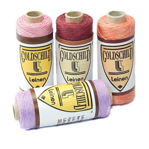 Goldschild farbiges Leinengarn Nel 18/3, in der Klöppelwerkstatt erhältlich, zum klöppeln, stricken, häkeln, für die Buchbinderei, Modellbau, Sticken, weben und für den Ebenseer Kreuzstich, sehr gut geeignet.
