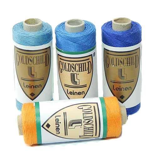 Goldschild farbiges Leinengarn Nel 50/3, Handarbeitsgarn aus 100 % Leinen, Flach, gesponnen. Zum Klöppeln, Häkeln, Sticken, Weben, Modellbau und Buchbinden bestens geeignet, in der Klöppelwerkstatt erhältlich.