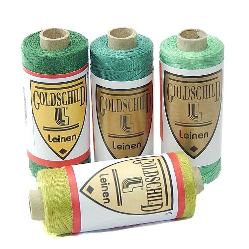 Goldschild farbiges Leinengarn Nel 66/3, in der Klöppelwerkstatt erhältlich, zum klöppeln, stricken, häkeln, für die Buchbinderei, Modellbau, Sticken, weben und für den Ebenseer Kreuzstich, sehr gut geeignet.