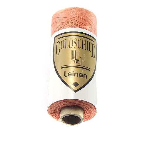 Goldschild farbiges Leinengarn, Handarbeitsgarn aus 100 % Leinen, Flach, gesponnen. Zum Klöppeln, Häkeln, Sticken, Weben, Modellbau und Buchbinden bestens geeignet, in der Klöppelwerkstatt erhältlich. Farb-Nr.: 42