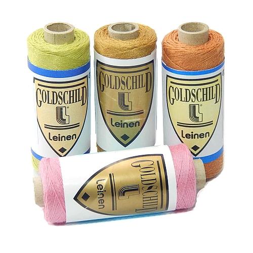 Goldschild farbiges Leinengarn Nel 30/3, in der Klöppelwerkstatt erhältlich, zum klöppeln, stricken, häkeln, für die Buchbinderei, Modellbau, Sticken, weben und für den Ebenseer Kreuzstich, sehr gut geeignet.