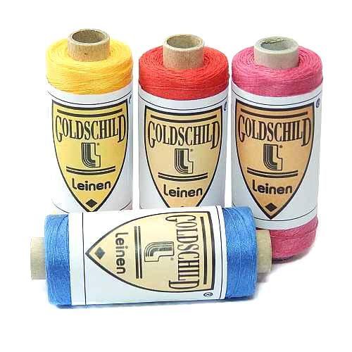 Goldschild farbiges Leinengarn Nel 80/3, Handarbeitsgarn aus 100 % Leinen, Flach, gesponnen. Zum Klöppeln, Häkeln, Sticken, Weben, Modellbau und Buchbinden bestens geeignet, in der Klöppelwerkstatt erhältlich.