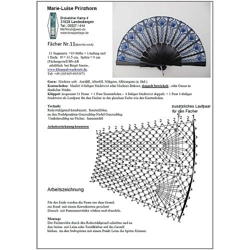 Fächer Modell Almeria und Brief Torchonspitze 11 - Klöppelbrief