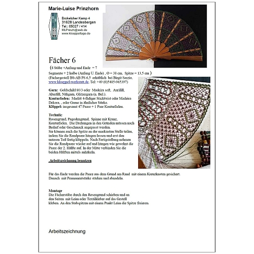 Fächer Modell Alicante Brief Torchonspitze 6 Klöppelwerkstatt