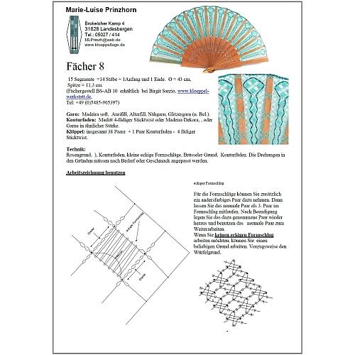 Fächer Modell Pamplona und Brief Torchonspitze 8 - Klöppelbrief