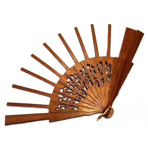 Fächergestell in der Holzart Mahagonie, zum Artikel: Fächer Modell Valencia und Brief Torchonfächer 1A