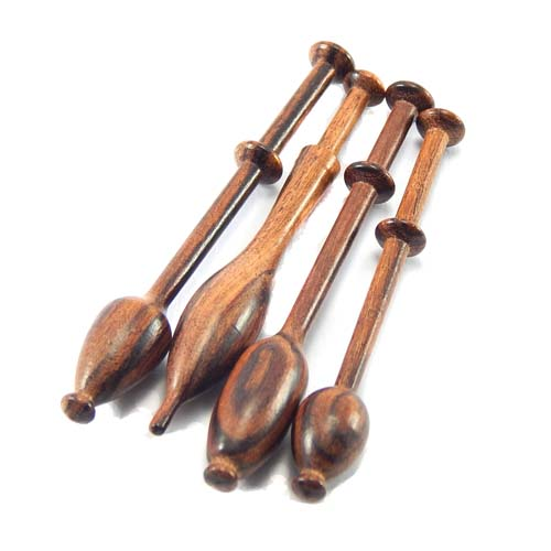Mini Klöppel 4er Set in verschiedenen Hölzern, Veilchenholz, in der Klöppelwerkstatt erhältlich, perfekt für kleine Klöppelkissen, als Schmuck oder Deko