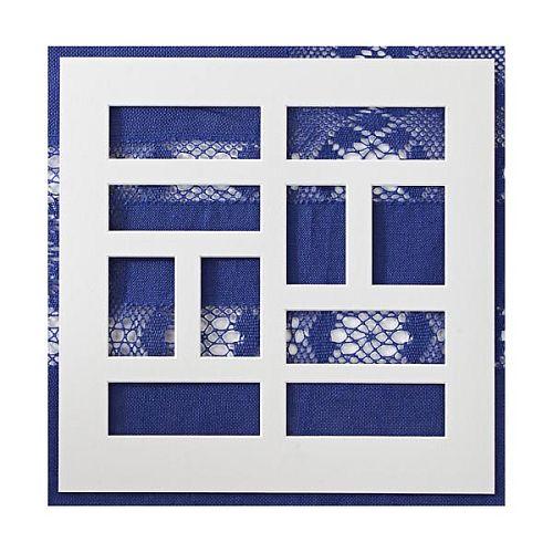 Passepartout mit 11 Ausschnitten in weiß , in der Klöppelwerkstatt, klöppelbriefe erhältlich, auch für Sticken, occhi, Nadelspitze