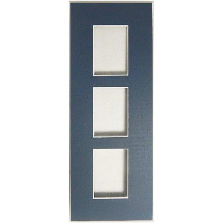 Passepartout 3 Ausschnitte 32 cm x 12 cm blau offen