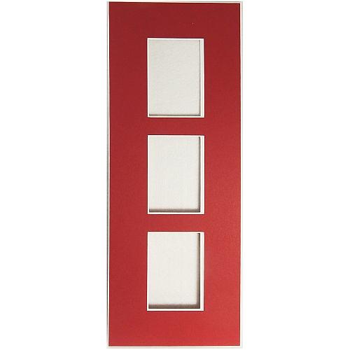 Passepartout 3 Ausschnitte 32 cm x 12 cm rechteckif rot offen