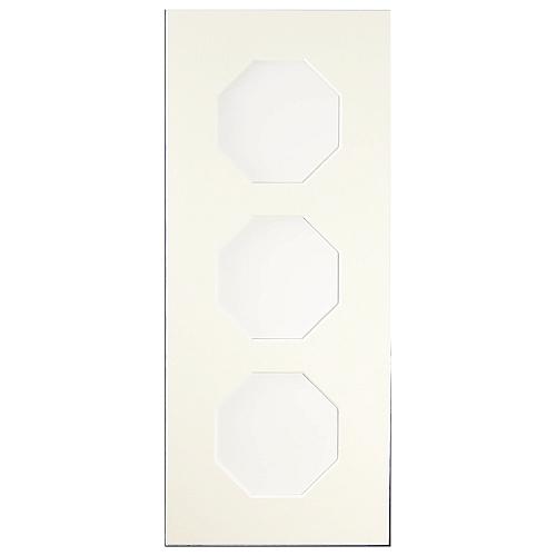 Passepartout 3 Ausschnitte achteckig, weiß, 13 x 31 cm, geschlossene Rückseit
