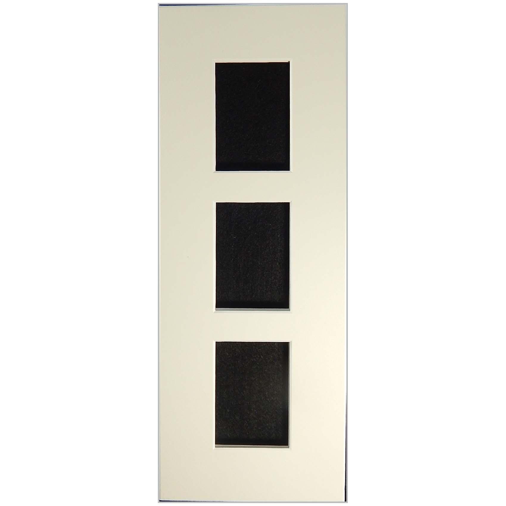 Passepartout 3 Ausschnitte 32 cm x 12 cm rechteckig weiß offen