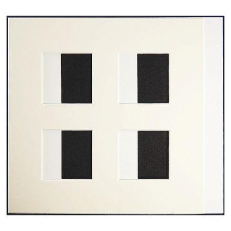 Passepartout 4 Ausschnitte 18 cm x 18 cm weiß, offen, Rückseite offen, beide Seiten