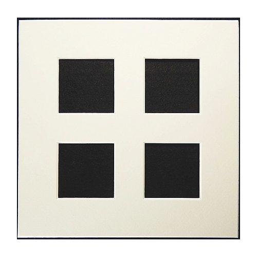 Passepartout 4 Ausschnitte 18 cm x 18 cm weiß, offen Rückseite offen