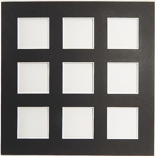 Passepartout 9 Ausschnitte Rückseite geschlossen schwarz