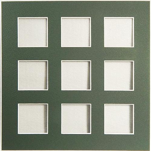 Passepartout 9 Ausschnitte Rückseite offen grün