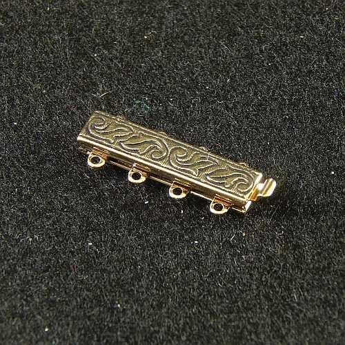 Verschlüsse zum Annähen mit Federverschluss, goldfarbig, 4 Ösen schmale Form für Armbänder, geklöppelt, gehäkelt, erhältlich in der Klöppelwerkstatt
