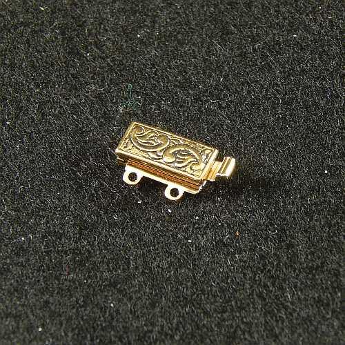 Verschlüsse zum Annähen mit Federverschluss, goldfarbig, 2 Ösen schmale Form für Armbänder, geklöppelt, gehäkelt, erhältlich in der Klöppelwerkstatt