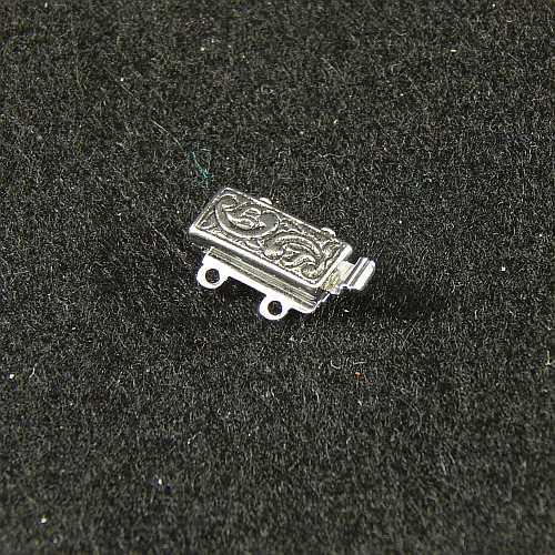 Verschlüsse zum Annähen mit Federverschluss, silberfarbig, 2 Ösen schmale Form für Armbänder, geklöppelt, gehäkelt, erhältlich in der Klöppelwerkstatt