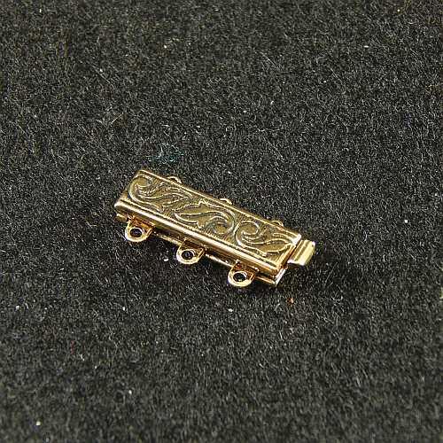 Verschlüsse zum Annähen mit Federverschluss, goldfarbig, 3 Ösen schmale Form für Armbänder, geklöppelt, gehäkelt, erhältlich in der Klöppelwerkstatt