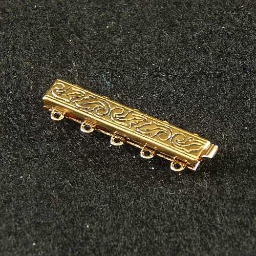 Verschlüsse zum Annähen mit Federverschluss, goldfarbig, 5 Ösen schmale Form für Armbänder, geklöppelt, gehäkelt, erhältlich in der Klöppelwerkstatt