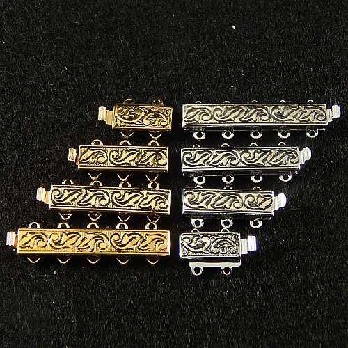 Verschlüsse zum Annähen mit Federverschluss, goldfarbig und silberfarbig schmale Form für Armbänder, geklöppelt, gehäkelt, erhältlich in der Klöppelwerkstatt