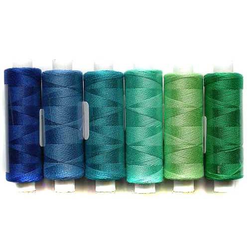 Venne Colcoton 6er Set mit 6 Farben in blau-grün, für das 36 er Passepartout zum klöppeln, stricken, weben, häkeln, Baumwollgarn, in der Klöppelwerkstatt erhältlich, Baumwollgarn