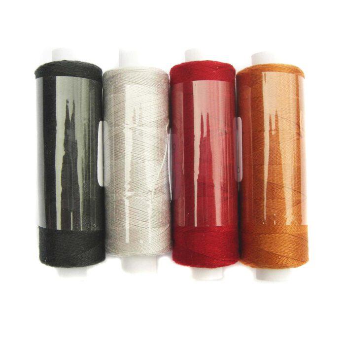 Venne Colcoton 4er Set, 4 Farben für das 3-eckige Passepartout in schwarz, grau, rot und orange, zum klöppeln, stricken, häkeln, weben, in der Klöppelwerkstatt erhältlich, (BIO) Baumwollgarn