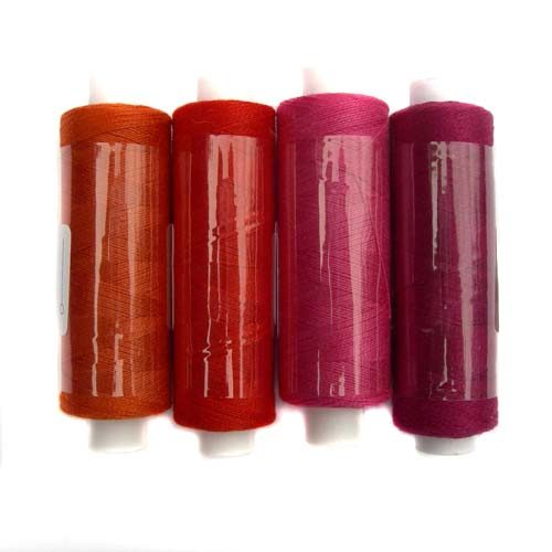 Venne Colcoton 4erSet, 4 Farben für 8eckiges Passepartout, zum klöppeln, stricken, häkeln, weben, in der Klöppelwerkstatt erhältlich, (BIO) Baumwollgarn