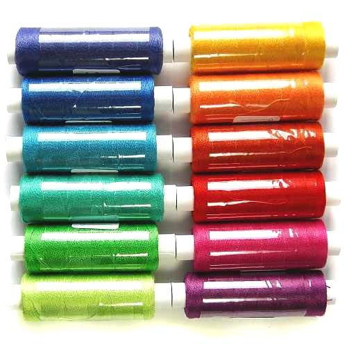 Venne Colcoton 12er Regenbogenfarben zum klöppeln, stricken, häkeln, weben, in der Klöppelwerkstatt erhältlich, Baumwollgarn