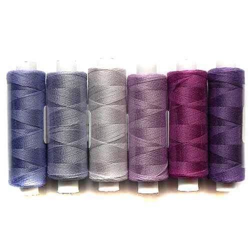 Venne Colcoton 6er Set mit 6 Farben in flieder, für das 36 er Passepartout zum klöppeln, stricken, weben, häkeln, in der Klöppelwerkstatt erhältlich, Baumwollgarn