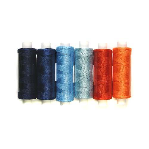 Venne Colcoton 6er Set, 6 Farben in orange/blau für das 36 er Passepartout, zum klöppeln, stricken, weben, häkeln, in der Klöppelwerkstatt erhältlich, Baumwollgarn