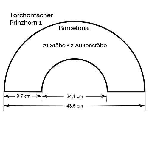 Faecher Modell Barcelona, Zeichnung, Größenangabe, in der Klöppelwerkstatt