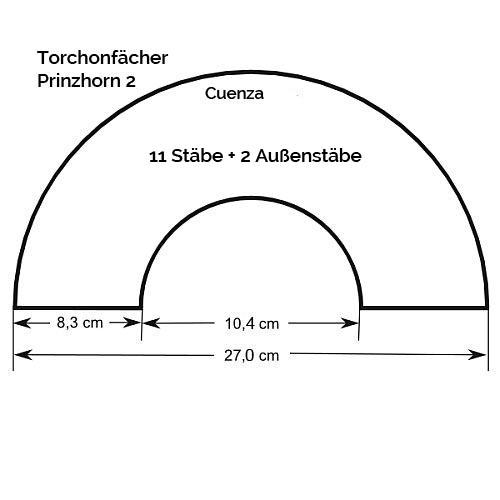Fächer Modell Cuenza Zeichnung, Größenangabe, in der Klöppelwerkstatt