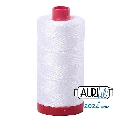 AURIFIL - Baumwollgarn - 30g Spule 100% ägyptische mercerisierte Baumwolle in 270 Farben und 4 Stärken in der Klöppelwerkstatt lieferbar, zum stricken, sticken, häkeln, patchwork, Quilten und nähen geeignet., Stärke 12wt, 30g Spule, Farbe 2024 white