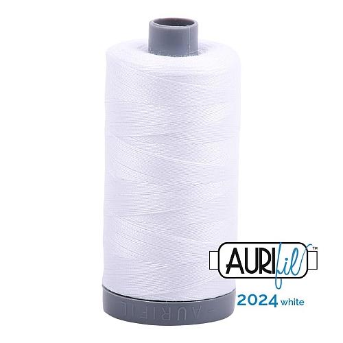 AURIFIL - Baumwollgarn - 30g Spule 100% ägyptische mercerisierte Baumwolle in 270 Farben und 4 Stärken in der Klöppelwerkstatt lieferbar, zum stricken, sticken, häkeln, patchwork, Quilten und nähen geeignet., Stärke 28wt, 30g Spule, Farbe 2024 white