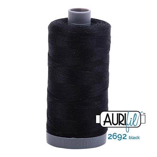 AURIFIL - Baumwollgarn - 30g Spule 100% ägyptische mercerisierte Baumwolle in 270 Farben und 4 Stärken in der Klöppelwerkstatt lieferbar, zum stricken, sticken, häkeln, patchwork, Quilten und nähen geeignet., Stärke 28wt, 30g Spule, Farbe 2692 black