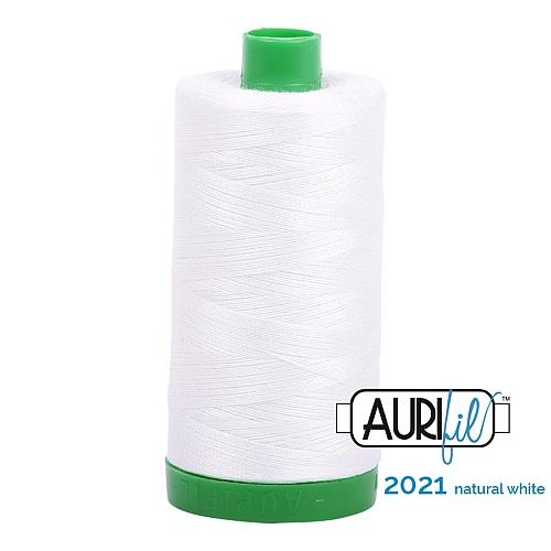AURIFIL - Baumwollgarn - 30g Spule 100% ägyptische mercerisierte Baumwolle in 270 Farben und 4 Stärken in der Klöppelwerkstatt lieferbar, zum stricken, sticken, häkeln, patchwork, Quilten und nähen geeignet., Stärke 40wt, 30g Spule, Farbe 2021 natural white