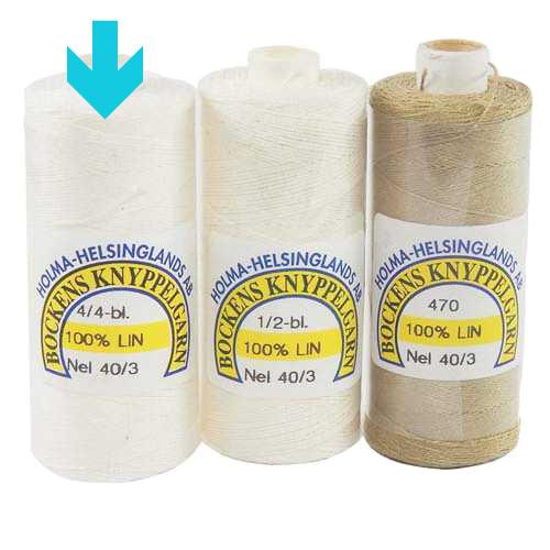 Bockens Leinengarn Nel 40/3 weiß, in der Klöppelwerkstatt erhältlich, zum klöppeln, stricken, häkeln, für die Buchbinderei, Modellbau, Sticken, weben und für den Ebenseer Kreuzstich, sehr gut geeignet.