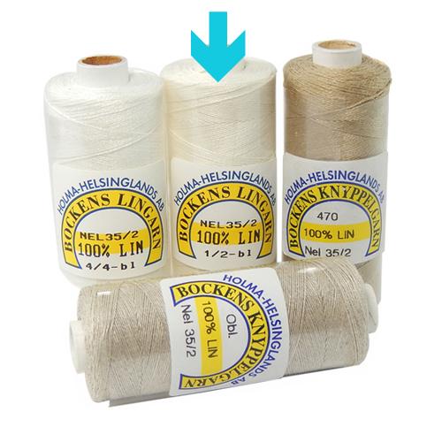 Bockens Leinengarn Nel 35/2, in der Klöppelwerkstatt erhältlich, zum klöppeln, stricken, häkeln, für die Buchbinderei, Modellbau, Sticken, weben und für den Ebenseer Kreuzstich, sehr gut geeignet.