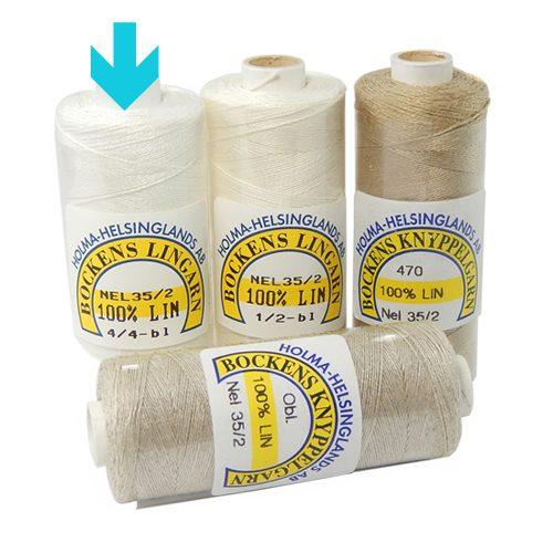 Bockens Leinengarn Nel 60/2 weiss, in der Klöppelwerkstatt erhältlich, zum klöppeln, stricken, häkeln, für die Buchbinderei, Modellbau, Sticken, weben und für den Ebenseer Kreuzstich, sehr gut geeignet.