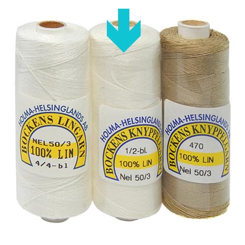 Bockens Leinengarn Nel 50/3 halbgebleicht, in der Klöppelwerkstatt erhältlich, zum klöppeln, stricken, häkeln, für die Buchbinderei, Modellbau, Sticken, weben und für den Ebenseer Kreuzstich, sehr gut geeignet.