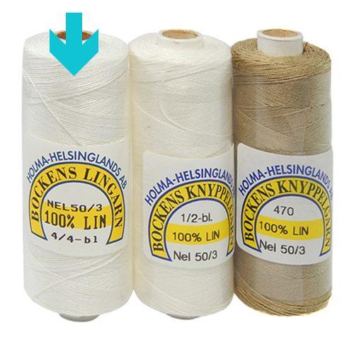Bockens Leinengarn Nel 50/3 weiss, in der Klöppelwerkstatt erhältlich, zum klöppeln, stricken, häkeln, für die Buchbinderei, Modellbau, Sticken, weben und für den Ebenseer Kreuzstich, sehr gut geeignet.
