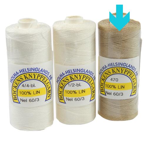 Bockens Leinengarn Nel 60/3, natur, in der Klöppelwerkstatt erhältlich, zum klöppeln, stricken, häkeln, für die Buchbinderei, Modellbau, Sticken, weben und für den Ebenseer Kreuzstich, sehr gut geeignet.
