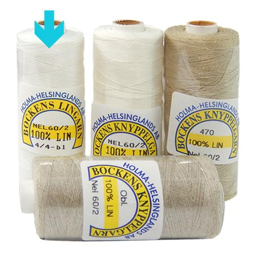 Bockens Leinengarn Nel 60/2, in weiß, in der Klöppelwerkstatt erhältlich, zum klöppeln, stricken, häkeln, für die Buchbinderei, Modellbau, Sticken, weben und für den Ebenseer Kreuzstich, sehr gut geeignet.