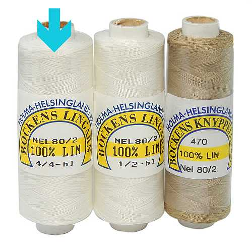 Bockens Leinengarn Nel 80/2 weiß, in der Klöppelwerkstatt