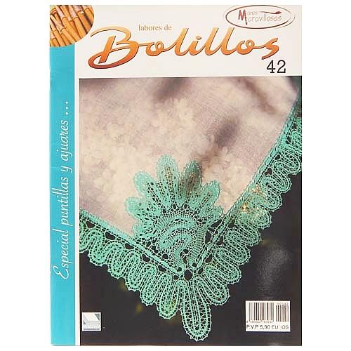 Labores de BOLILLOS 42, eine spanische Zeitschrift, Klöppelbriefe zu unterschiedlichen Themen, wie Torchon, Schals, Fächer, Taschen, Bänderspitze, usw. in der Klöppelwerkstatt erhältlich.