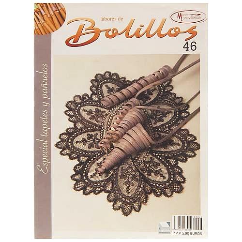 Labores de BOLILLOS 46, eine spanische Zeitschrift, Klöppelbriefe zu unterschiedlichen Themen, wie Torchon, Schals, Fächer, Taschen, Bänderspitze, usw. in der Klöppelwerkstatt erhältlich.