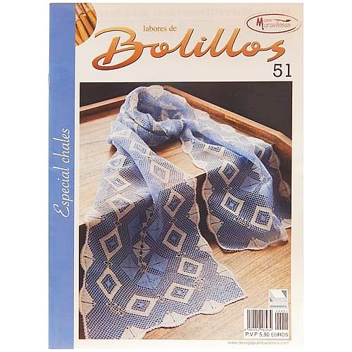 Labores de BOLILLOS 51, eine spanische Zeitschrift, Klöppelbriefe zu unterschiedlichen Themen, wie Torchon, Schals, Fächer, Taschen, Bänderspitze, usw. in der Klöppelwerkstatt erhältlich.